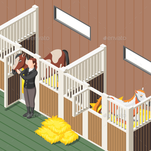 Horse Stable Isometric Background - Sports/Activity Conceptual