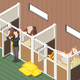 Horse Stable Isometric Background