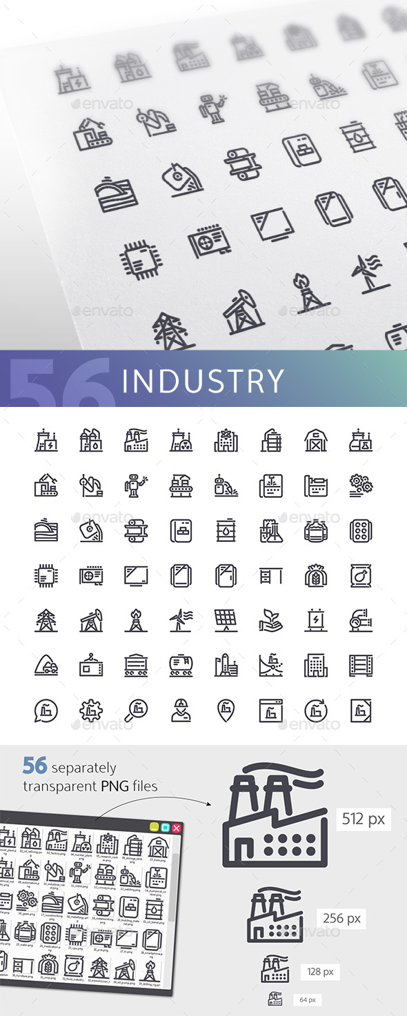 Industry Line Icons Set - Technology Icons