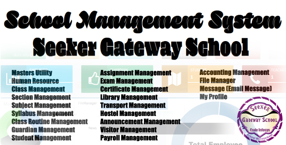 School Management System (Seeker Gateway) Open Source Full ERP MVC 5            Nulled