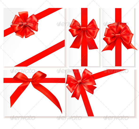 Collection of Gift Red Bows - Decorative Symbols Decorative