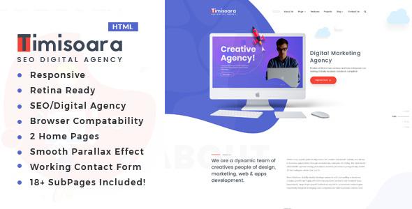 Timisoara - SEO /Digital Agency HTML5 Template - Portfolio Creative