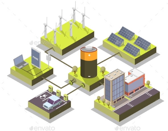 Alternative Energy Vector Isometric Illustration - Miscellaneous Vectors