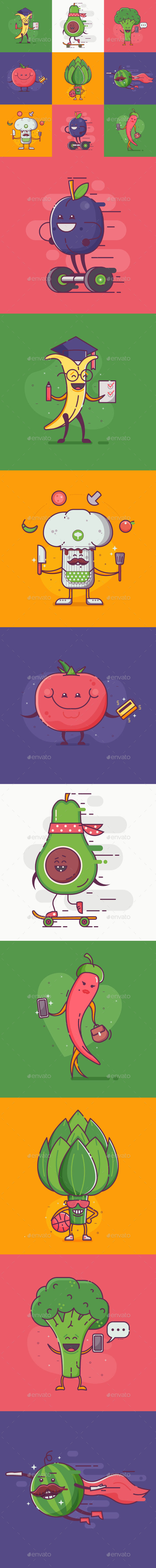 Flat Quirky Vegetable Characters Set - Miscellaneous Characters