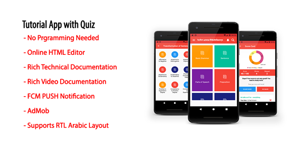 Tutorial App with Quiz | Native Android Offline Learning App with AdMob & Firebase PUSH Notification - CodeCanyon Item for Sale