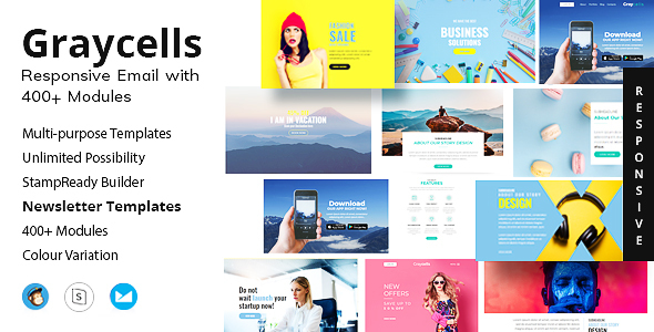 Responsive Email Template With 400+ Modules + StampReady Builder Access - Newsletters Email Templates
