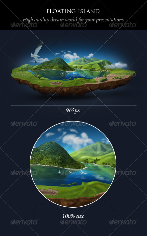 Realistic Floating Island  - Nature Backgrounds