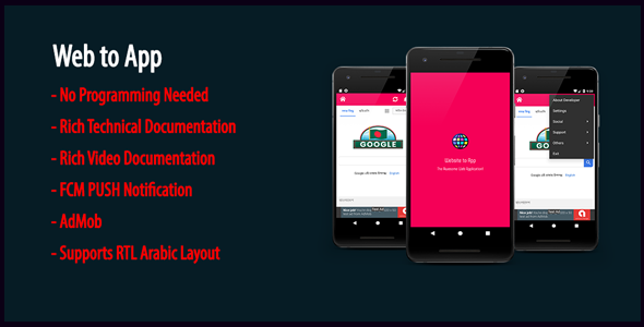 Web to App | Native Universal Android WebView App with AdMob & Firebase PUSH Notification - CodeCanyon Item for Sale
