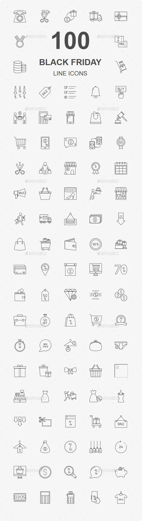 Black Friday Line Icons - Business Icons