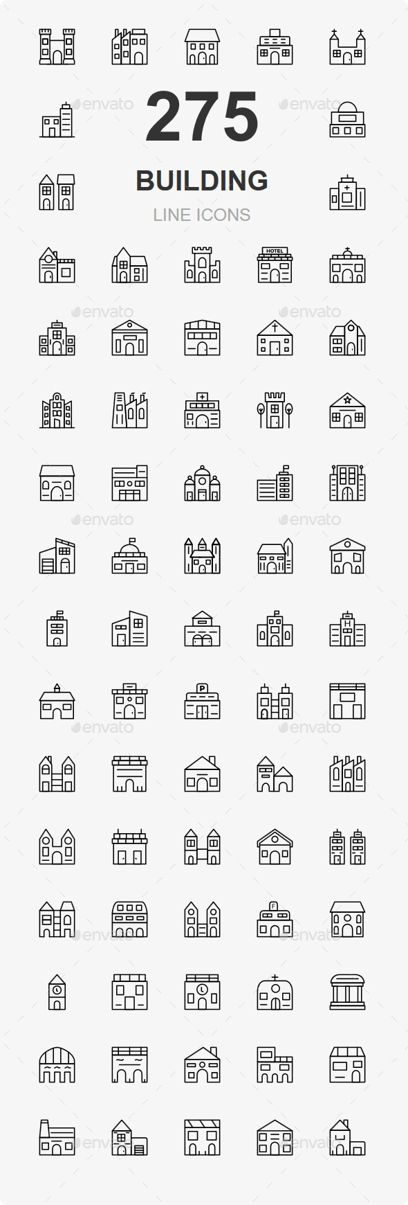 200+ Building Line Icons - Buildings Objects