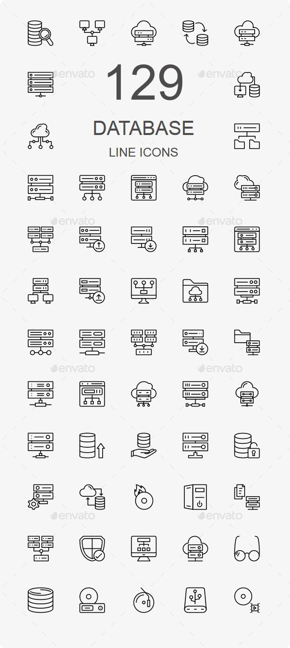 100+ Database and Storage Line Icons - Technology Icons