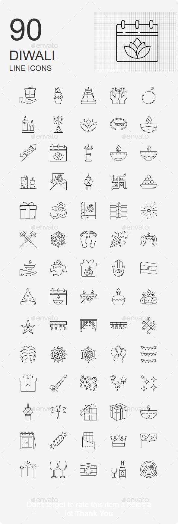 70+ Diwali Line Icons - Business Icons
