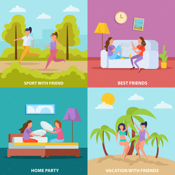 Girls Friendship Orthogonal Concept - Sports/Activity Conceptual