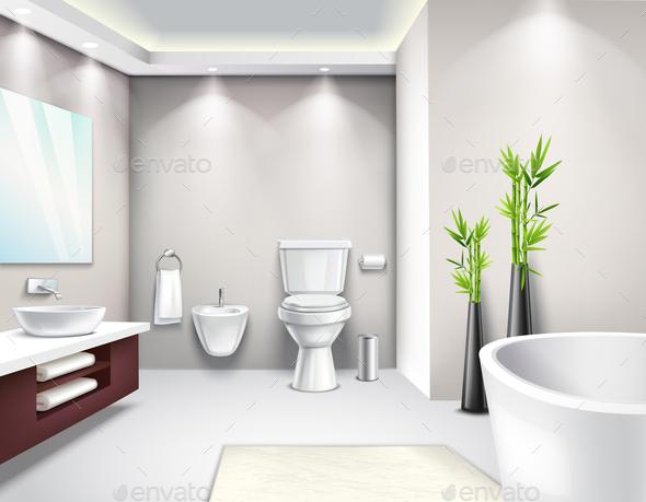 Luxury Bathroom Interior Realistic Design - Miscellaneous Vectors