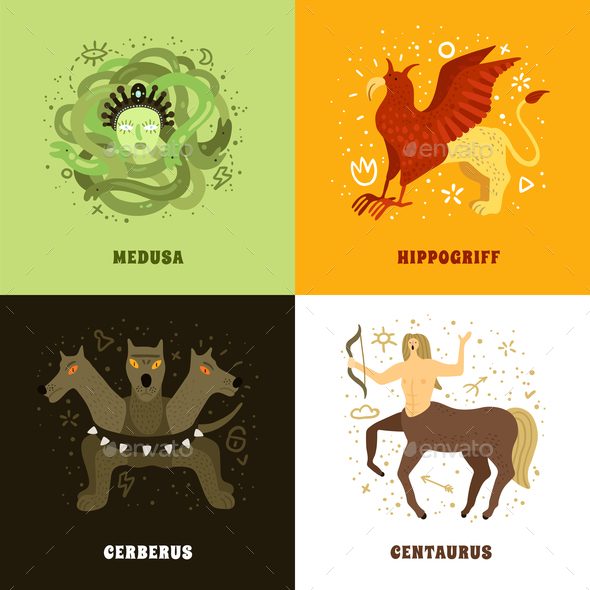 Mythical Creature 2x2 Concept - Animals Characters