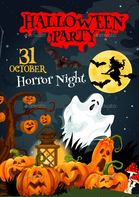 Halloween Ghost Poster for Horror Party Design - Halloween Seasons/Holidays