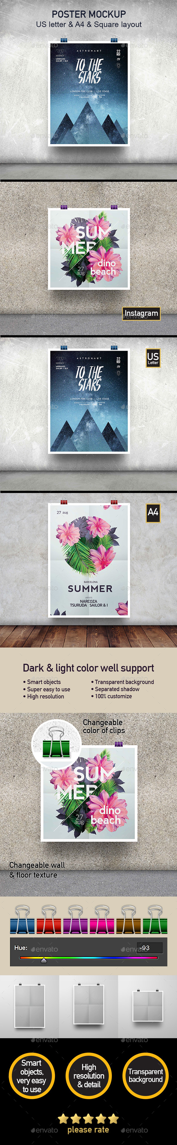 Poster Mockup - Minimal Style - Set of 3 Different Sizes - Posters Print