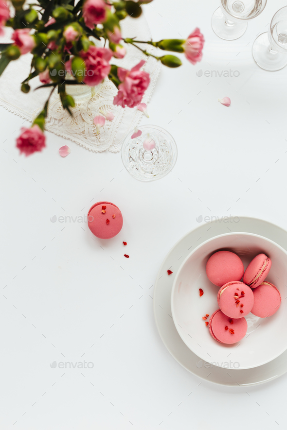 Top View of Pink Macarons - Stock Photo - Images