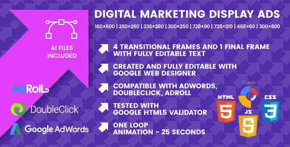 Digital Marketing Display Ads Animated HTML Banner Ad Templates - Display ad templates