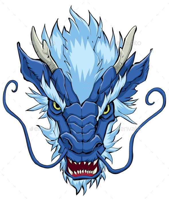 Chinese Dragon Head Blue - Monsters Characters