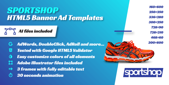 Sport Shop - Animated HTML5 Banner Ad Templates (GWD) - CodeCanyon Item for Sale