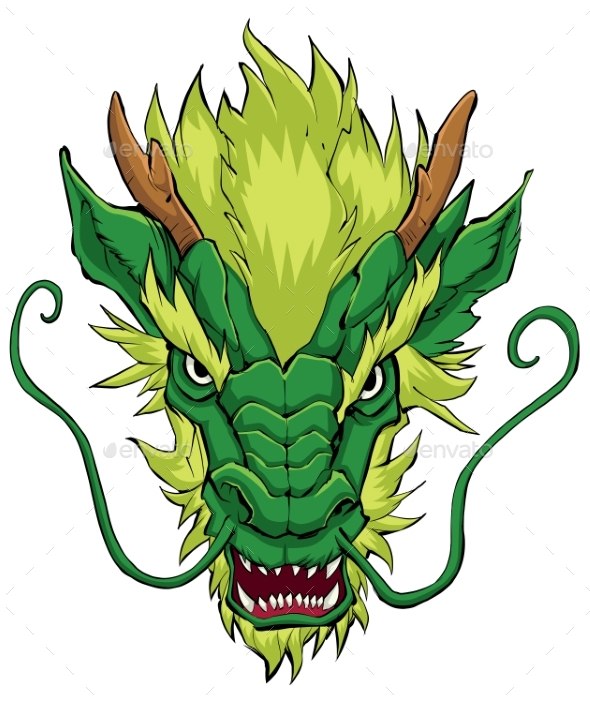 chinese dragon head green by malchev graphicriver