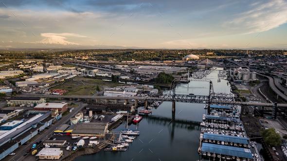 Aerial View Thea Foss Waterway Tacoma Washington Mt Rainier Visible - Stock Photo - Images