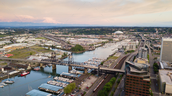 Aerial View Thea Foss Waterway Tacoma Washington Mt Rainier Visible - Stock Photo - Images