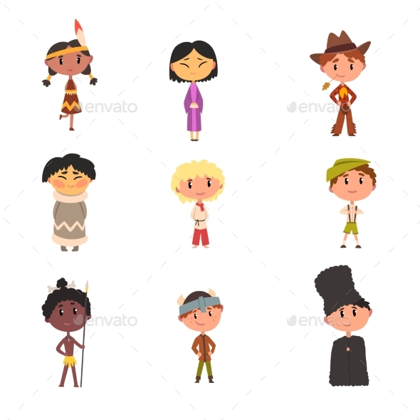 Kids in National Clothes Boys and Girls Cartoon - People Characters