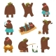Humanized Bear Characters Set