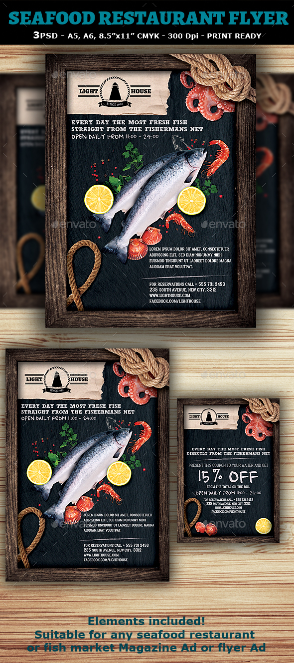 Seafood Restaurant Flyer Template - Restaurant Flyers