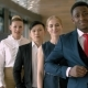Portrait of Handsome Black Business Man with Four Employees in the Business Hall - VideoHive Item for Sale