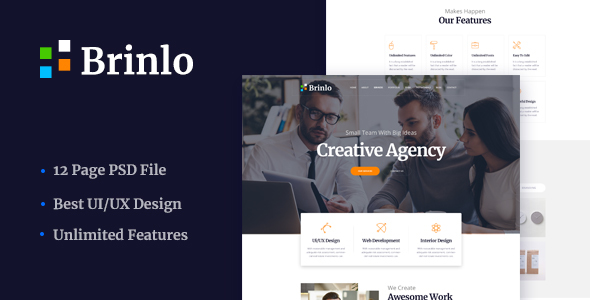 Brinlo - Creative agency startup business corporate PSD Template - Creative PSD Templates