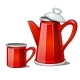 Red Enamel Teapot and Mug Isolated on White