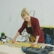 Woman Using Spirit Level on Workshop Desk - VideoHive Item for Sale