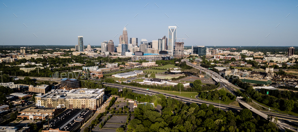Aerial View of the Downtown City Skyline of Charlotte North Carolina - Stock Photo - Images