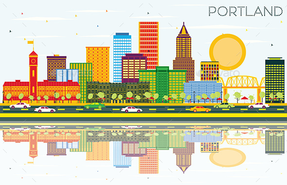 Portland Oregon City Skyline with Color Buildings - Buildings Objects