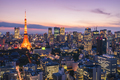 Tokyo tower and cityscape at night with beautiful sky in Tokyo, Japan - PhotoDune Item for Sale