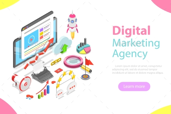 Digital Marketing Agency Flat Isometric Vector - Concepts Business
