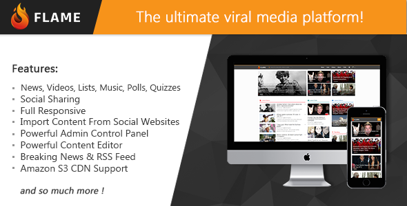 Flame - News, Viral Lists, Quizzes, Videos, Polls and Music - CodeCanyon Item for Sale