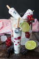 Frozen yogurt popsicles with red berries - PhotoDune Item for Sale