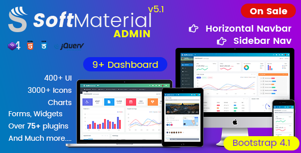 Soft Material - Bootstrap 4 Admin Templates Web Apps & UI Kit Dashboards - Admin Templates Site Templates