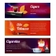 Horizontal Banners with Illustrations of Smoking
