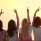 Young Woman Showing Love Sign at Sunset. Woman Friends Enjoy Summer Vacation - VideoHive Item for Sale