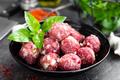 Beef meatballs. Cooking raw beef meatballs - PhotoDune Item for Sale