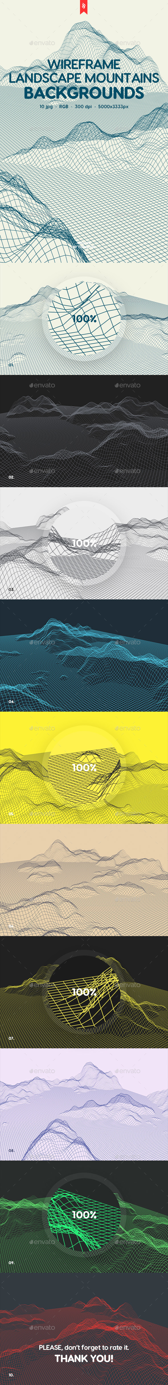 Wireframe Landscape Mountains Backgrounds - Backgrounds Graphics