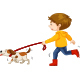 Boy Walking Dog - GraphicRiver Item for Sale