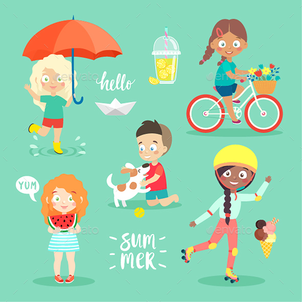 Summer Kids Set - People Characters
