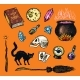 Vintage Halloween Elements Stickers - GraphicRiver Item for Sale