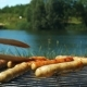 Grilling Sausages on a Sunny Summer Day in Front of a Lake - VideoHive Item for Sale